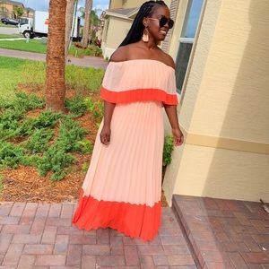 Beautiful peach pleated off shoulder maxi dress